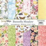 ScrapBoys Butterfly Meadow paperset 12 vl+cut out elements-DZ 30.5 op 30.5cm