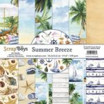 ScrapBoys Summer Breeze paperpad 24 vl+cut out elements-DZ 15.2 op 15.2cm