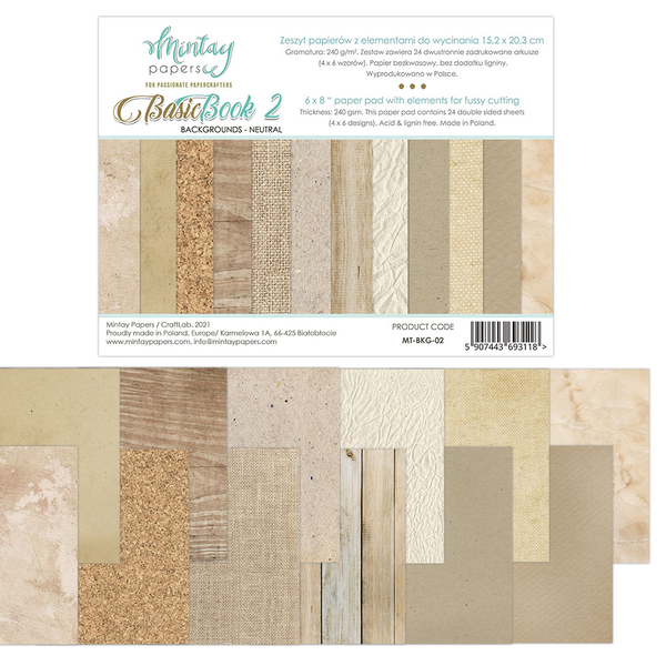 15×20.32 Basic Book – Backgrounds -Neutral
